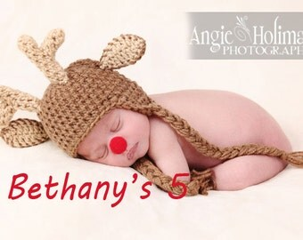 Reindeer hat Rudolph hat Christmas Hat Newborn to 18 Month sizes SALE