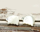 shell mother of pearl sheep stud earrings
