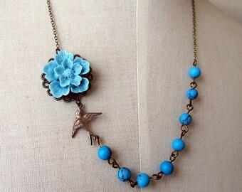 Blue sakura with antique bird and turquoise stone beads antique bronze necklace