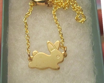 Nickel Free Running Bunny connected necklace gold filled gift for easter