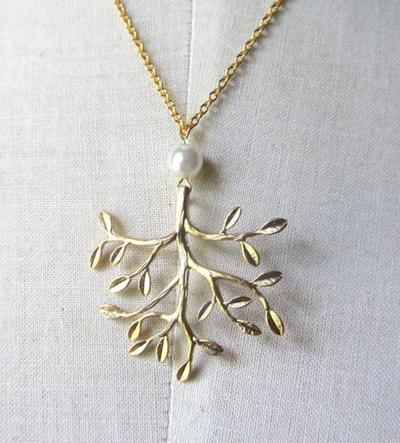 Big Tree leaf branch pendant gold plate with faux pearl chain