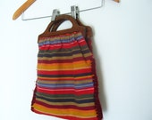 Vintage Wooden Handles Handbag With Colorful Eclectic Fabric and Hand Side Stitching Detail