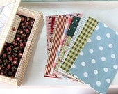 Various pattern FABRIC Stickers box - COTTON (12 sheets)
