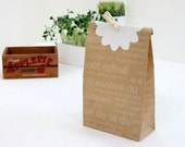 French Letters print Kraft Paper Bags - M (30 bags)