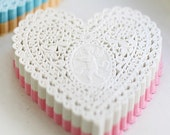 Lovely Cupid Heart Paper Doilies 5.7 inch - WHITE (30 sheets)
