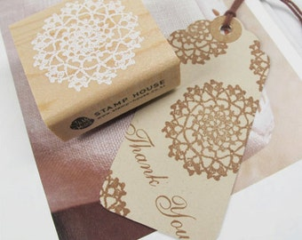 Circle Lace Doily Stamp (2 x 2in)