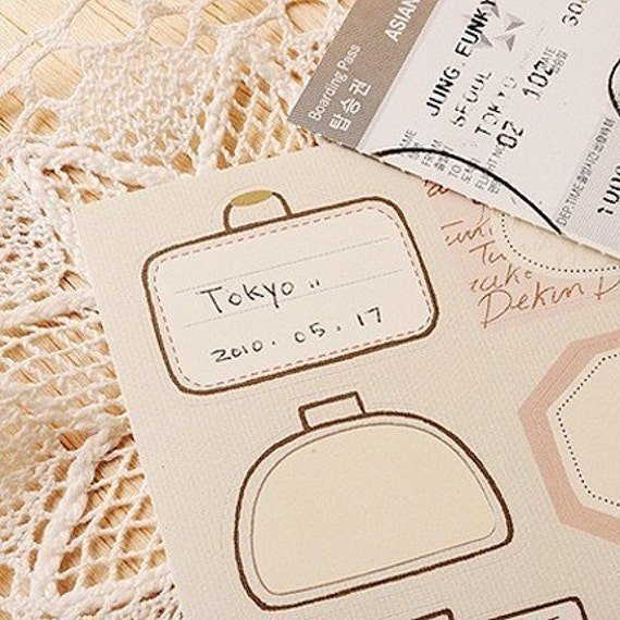 TRAVEL Label Vintage Removable Decor Stickers (2 sheets)