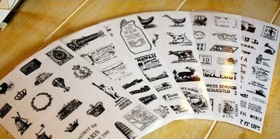 Vintage Stamp Type Stickers (6 sheets)