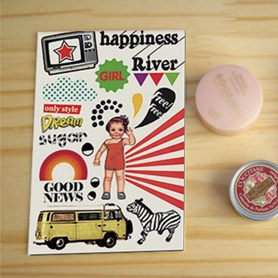 Vintage CANVAS Fabric Deco Stickers ver. O3
