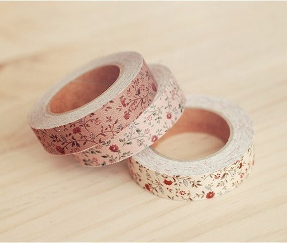 3 SET - Cotton Fabric Calm Flower Deco Tape 0.6 inch (adhesive)