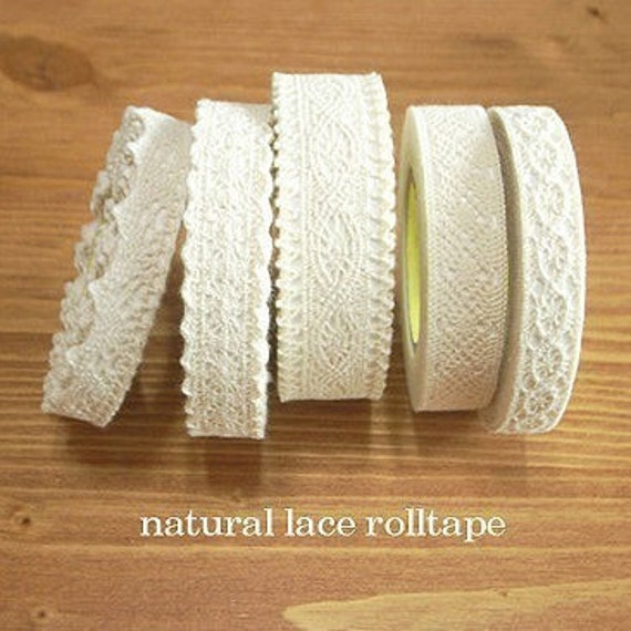 Natural Lace Fabric Decor Tape ver. 2 (adhesive)