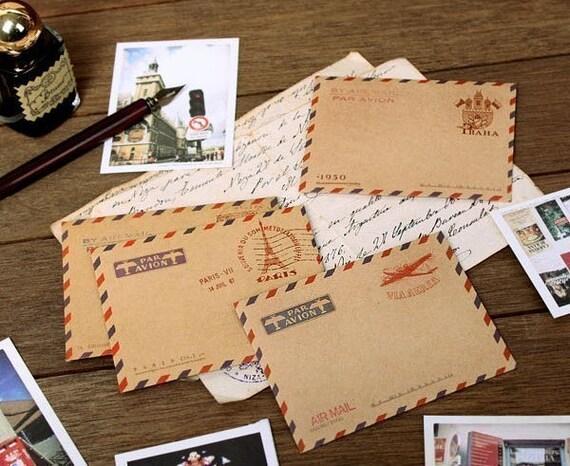 4 SET - Mini Airmail Kraft Envelopes (10 paris, 10 london, 10 praha, 10 italy sheets)