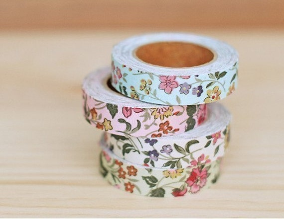 4 SET - Cotton Fabric Wild Flower Adhesive Deco Tape 0.6 inch (4 different colors)