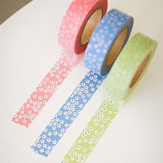 3 SET - Daisy Flower Adhesive Masking Tapes 0.6 inch (3 different colors)