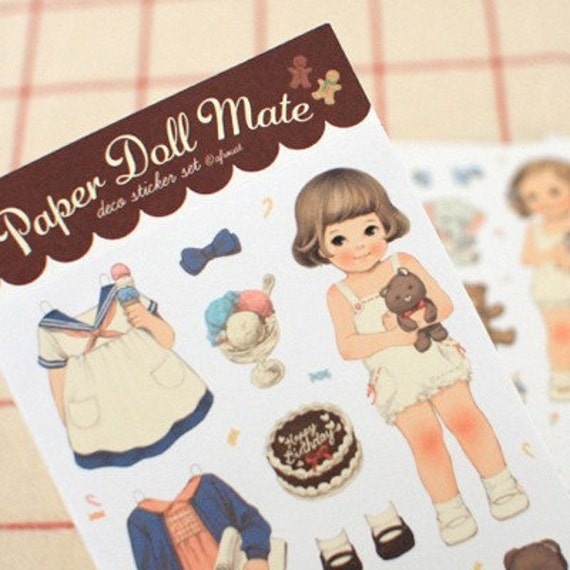 Paper Doll mate Stickers (Paper type 6 sheets)