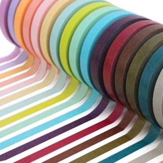 Bright and Turbid Colors Adhesive Masking Tapes 0.3 inch (20 pcs)