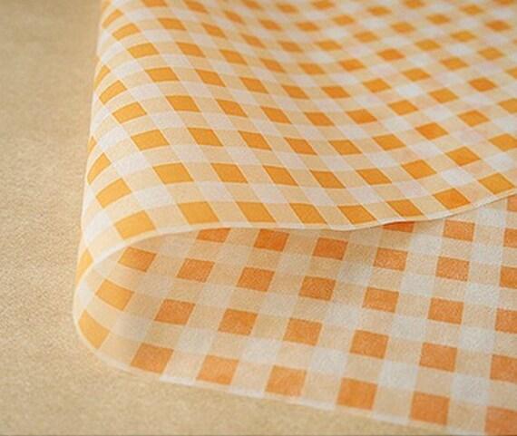Orange Check Wax Paper (25 sheets)