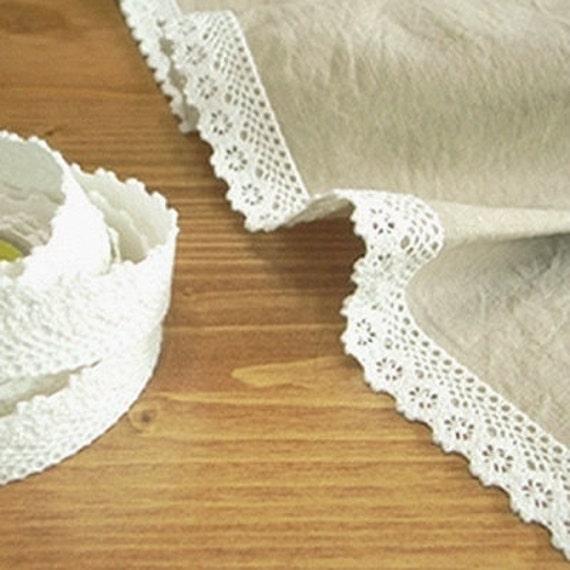 Natural Lace Fabric Decor Tape 10. White (adhesive)