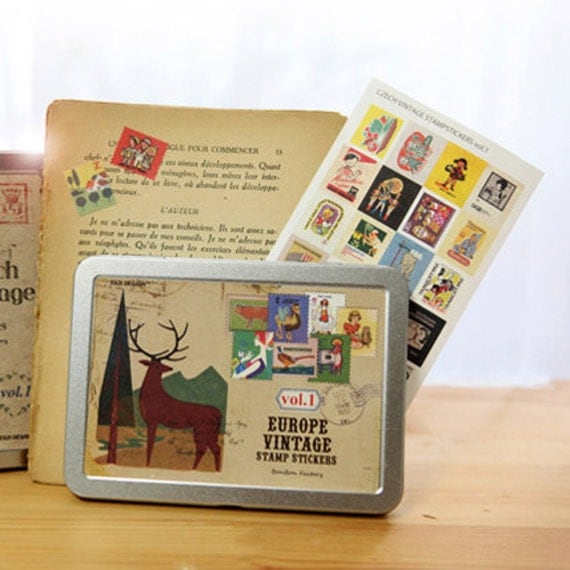 Vintage style Stamp Stickers Tin Case set - EUROPE vol. 1 (320 stickers)