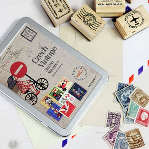 Vintage style Stamp Stickers Tin Case set - CZECH vol. 2 (320 stickers)