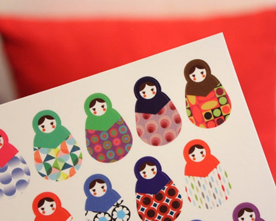 Russian Doll Point Index Stickers Ver. 2 (2 sheets)