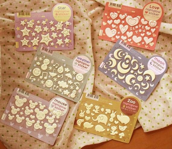Nightglow Embossing Sticker set (6 sheets)