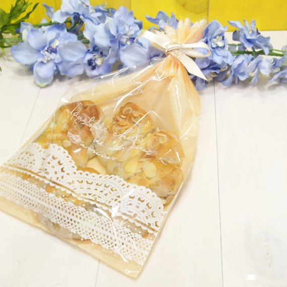 Lace Print Cellophane Bag in Apricot - Large (25 bags)