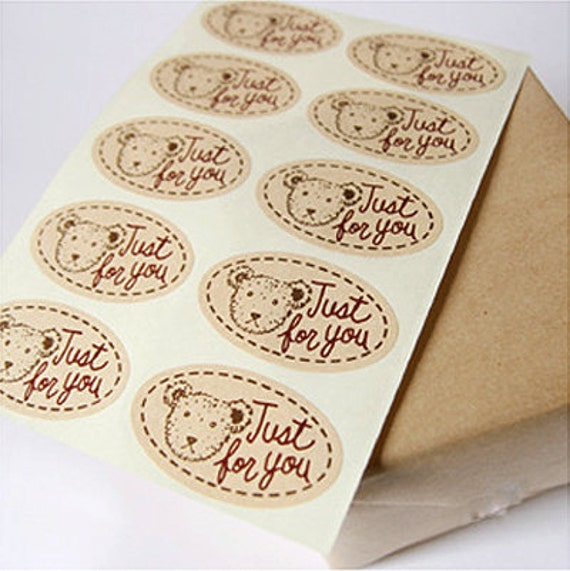 Just for you Teddy Bear Stickers (30 pcs)