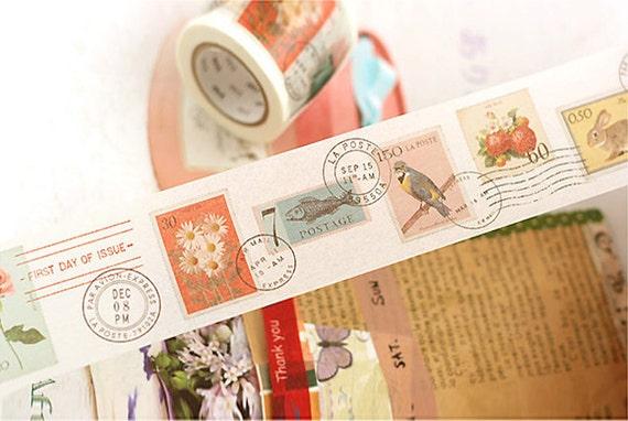 Vintage Stamp style Masking Tape 1.8 inch