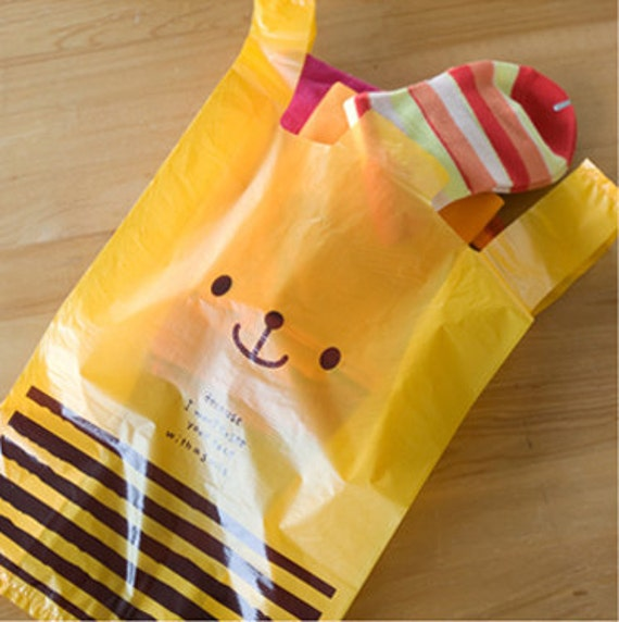 Yellow Cute Bear Bags - M (10 bags)