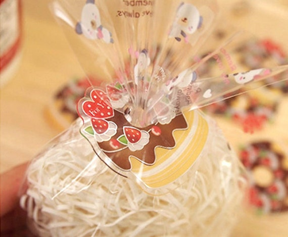 Strawberry Choco Cake Clear Ties (20 pcs)