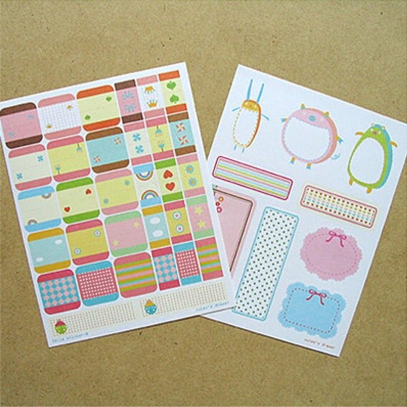 Cute Index Label Stickers (2 sheets)