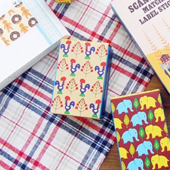 Scandinavia Pattern Label Stickers Match Box - Refill A (72 stickers)