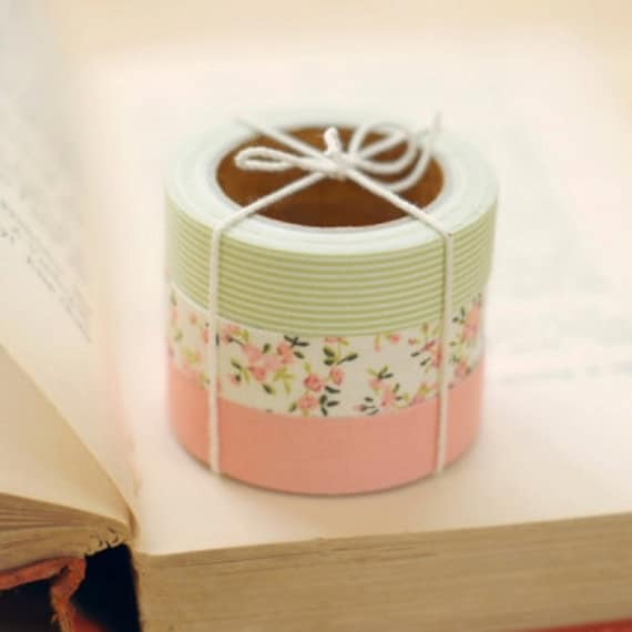 3 SET - Cozy Pink Green Fabric Deco Tapes 0.6 inch (adhesive)