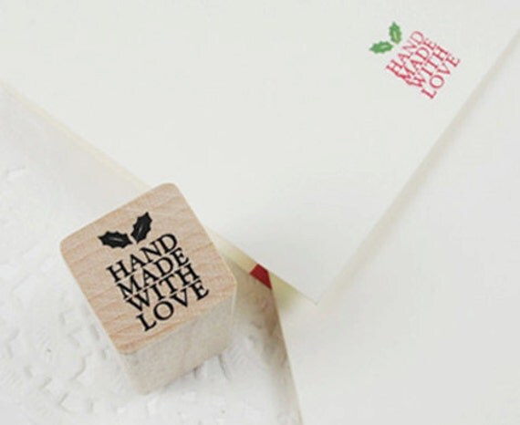 Holly Hand Made With Love Stamp