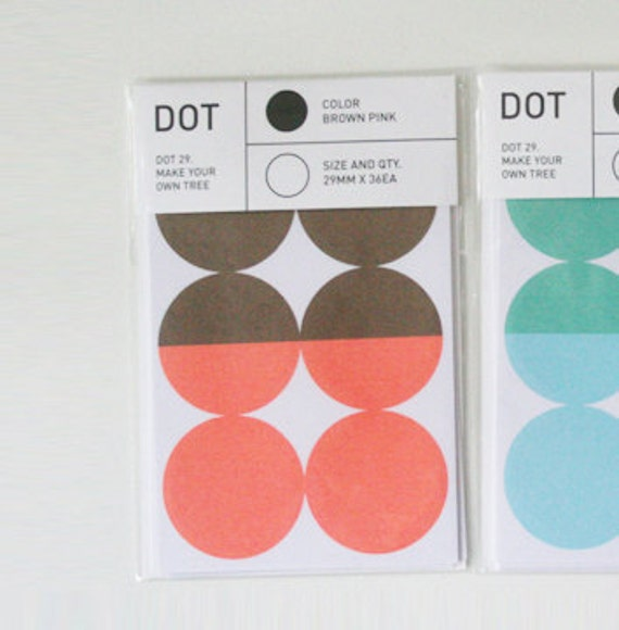 Colourful Point Circle Index Stickers - Brown / Coral Pink (6 sheets)