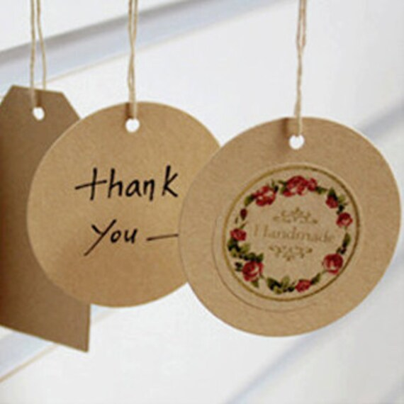 Circle Kraft Gift Tag with brown string - M (25 tags)