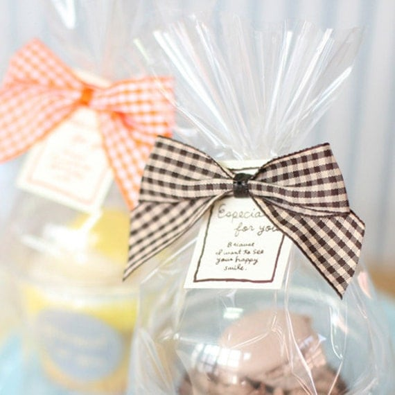 Check Ribbon Tag Clear Tie for Gift Wrapping - Choco (5 pcs)