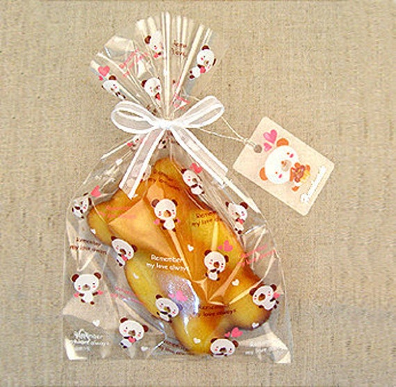Heart Bear Cellophane Bags (20 bags)