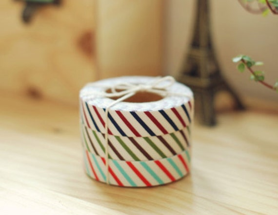 Oblique Line Fabric Deco Tape 0.6 inch - Red/Sky (adhesive)
