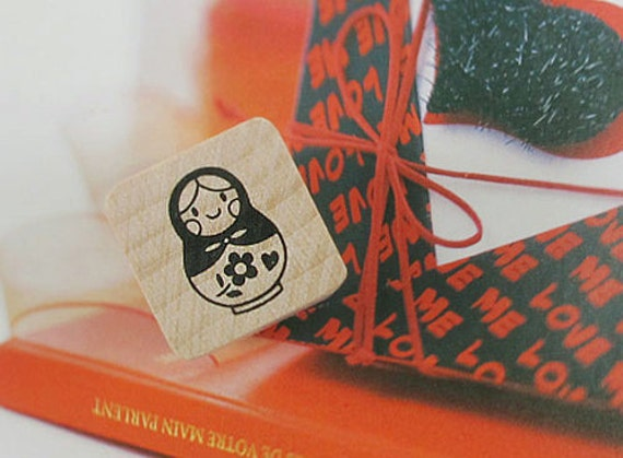 Russian Tumbling Doll Matryoshka Stamp - S
