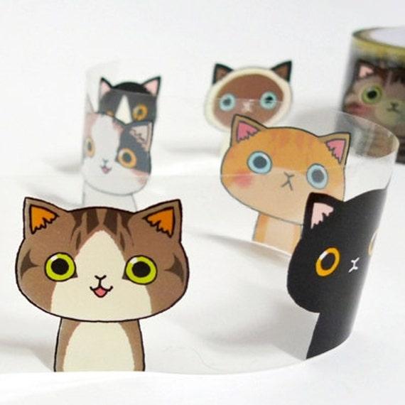Cat Illust Decor Tape 1.6 inch (adhesive)