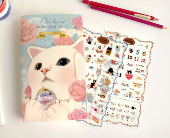 Adorable Cat Stickers in File case Ver.3 (8 sheets) - Diary Deco