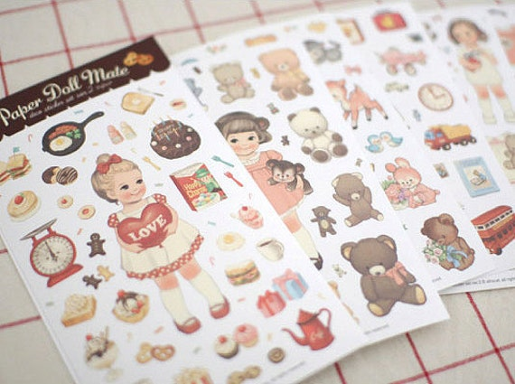 Paper Doll mate Stickers Ver. 2 (Paper type 6 sheets)
