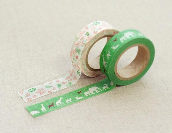 2 SET - Green Nature Beth Adhesive Masking Tapes 0.6 inch