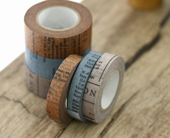 3 SET - Oldbook Vintage Masking Tapes 0.4 inch (adhesive)