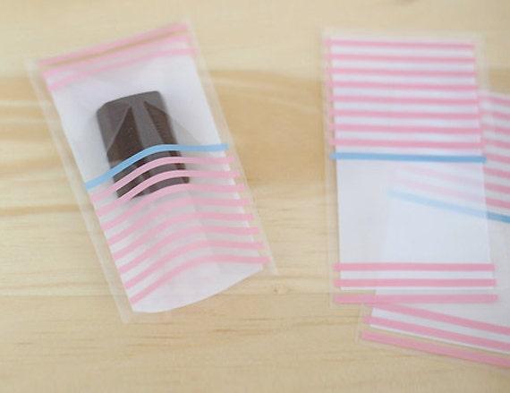 Pink Stripe MINI Cellophane Bags (40 bags)