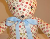 Sandi Henderson Ginger Blossom Flannel Quilted Bear - Vintage Dots