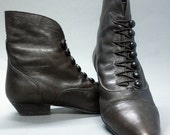 vintage Victorian Style Ankle Boots in Chocolate Brown Leather