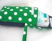 Nautical Kelly Green Giant Polka Dot Diaper Wristlet